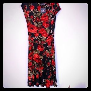 Red green and black floral dress